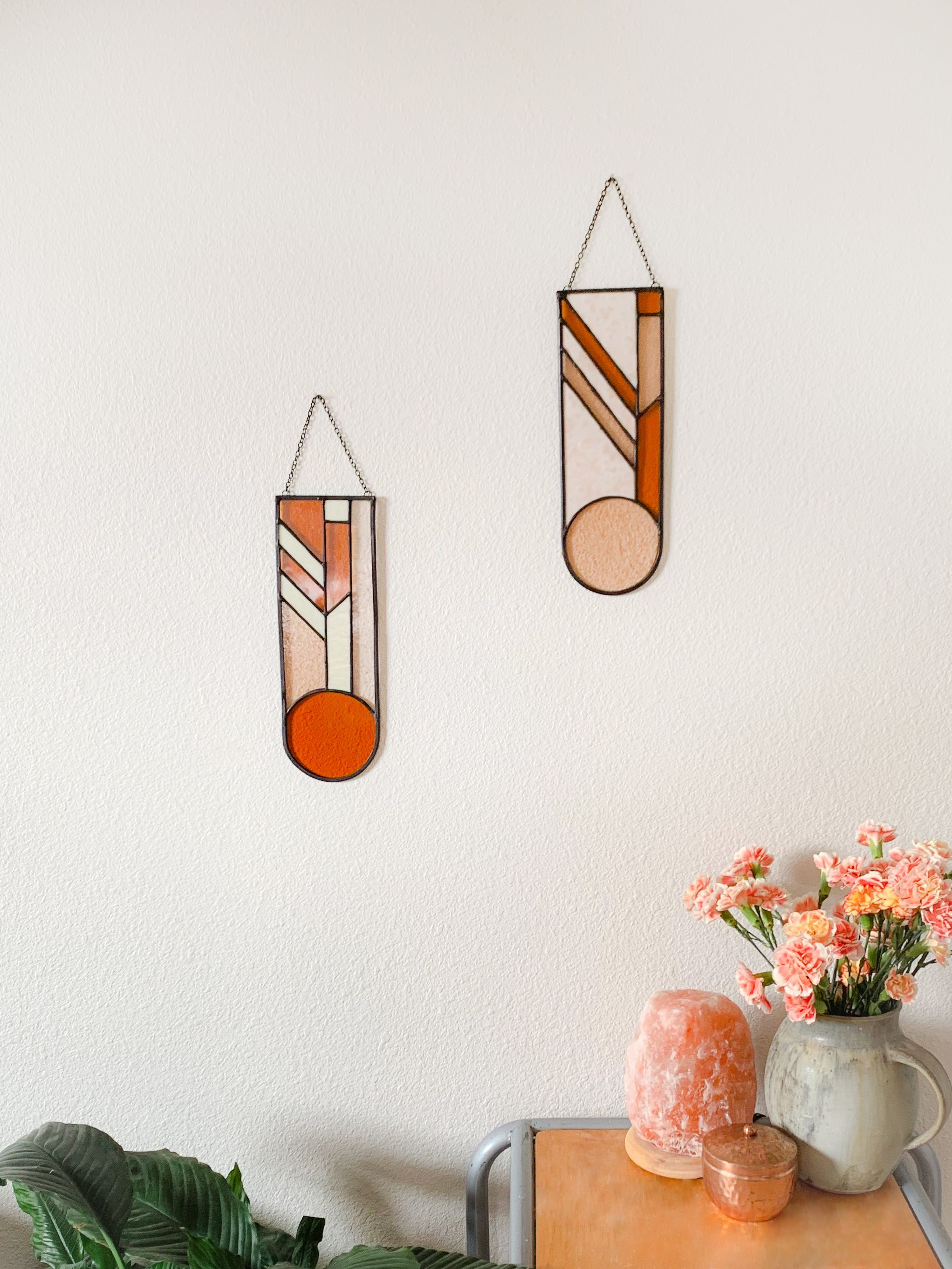 Modern Stained Glass Pink Pill Panels