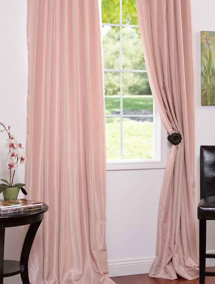 Rose Blush Vintage Textured Faux Dupioni Silk Curtains D