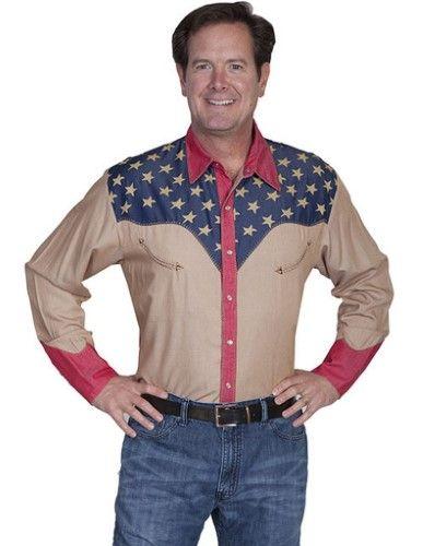 167f292234 Scully Western Shirt Mens Long Sleeve Snap Star American L Tan P-850 ...