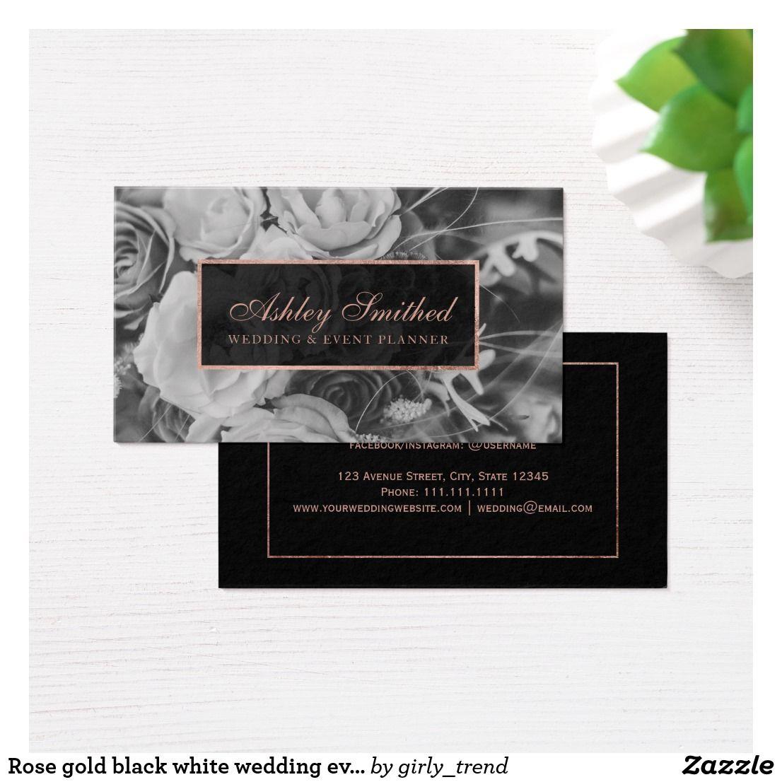 Rose Gold Black White Wedding Event Planner Photo Business Card Zazzle Com Wedding Planner Business Card Wedding Event Planner Photo Business Cards