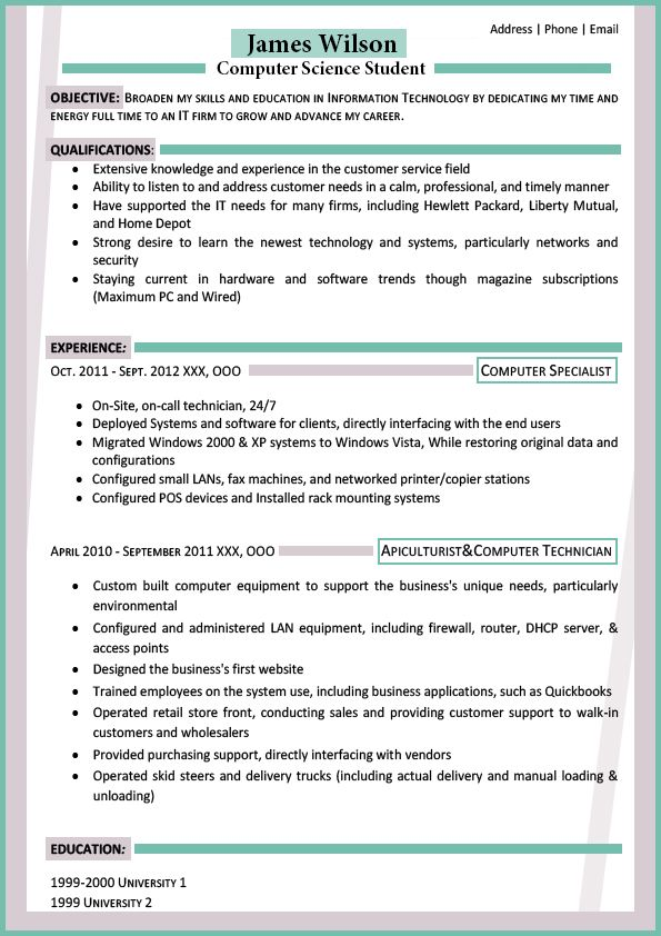 see the best resume format for freshers
