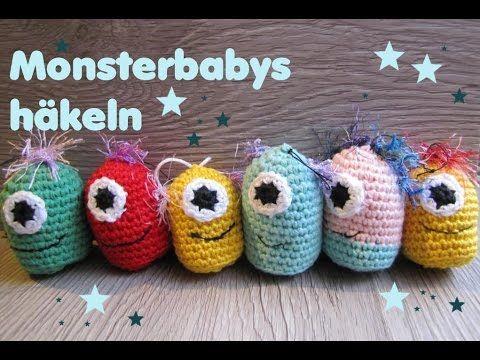 Monster Babys häkeln - Schlüsselanhänger - für Anfänger | Häkeln ...