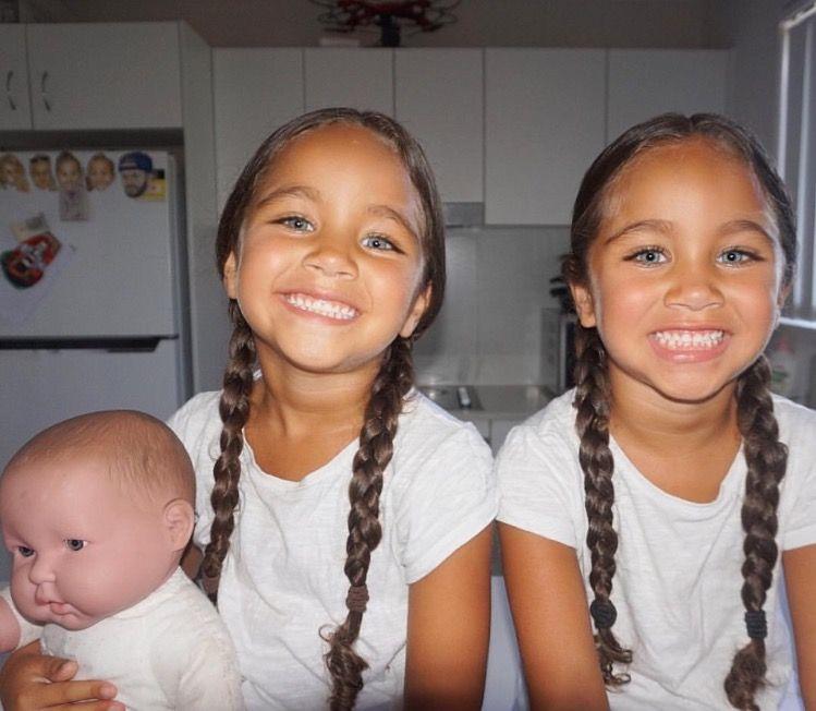 Girl interracial twin