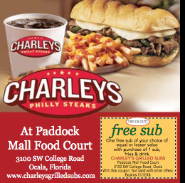 Charleys Food Philly Steak Mall Food Court