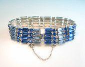 Rhinestone Bracelet. Wide Sapphire Blue Baguettes. Two Tone Link. Vintage 1950s Hollywood Regency Glamour Jewelry.