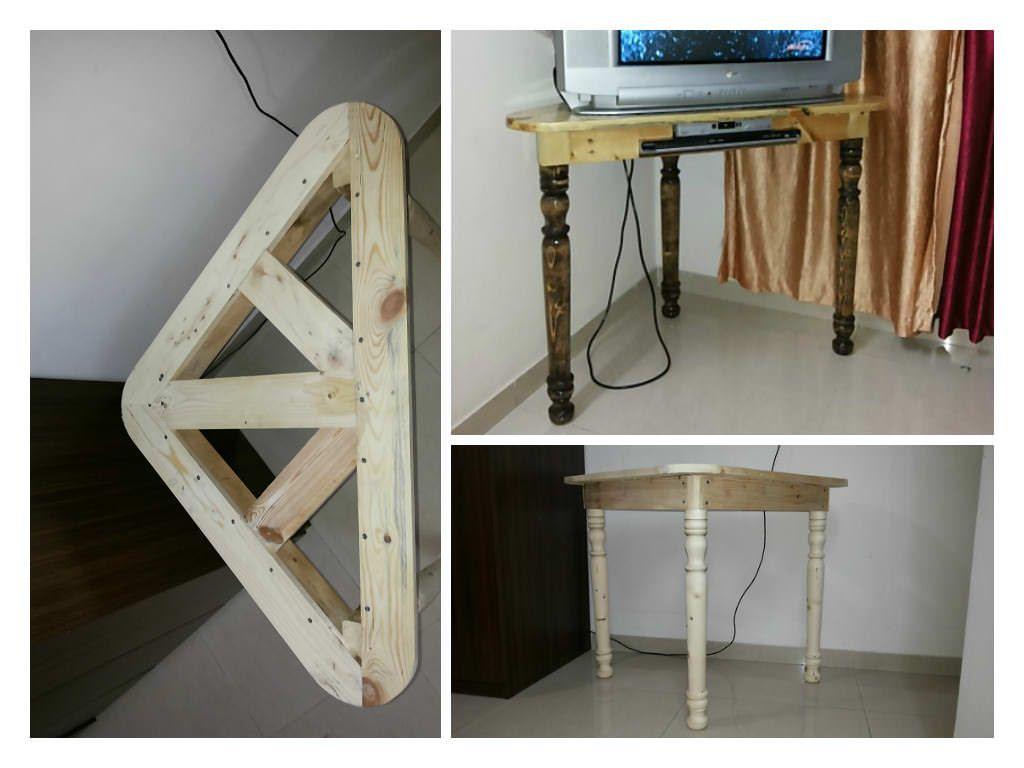 Pallet corner table for crt tv pallet ideas crt tv for Pallet corner bench