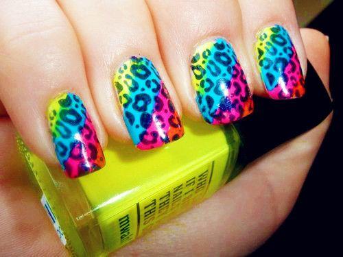 colorful cheetah nails Colorful Nail Designs - Colorful Cheetah Nails Colorful Nail Designs Oh & Nails
