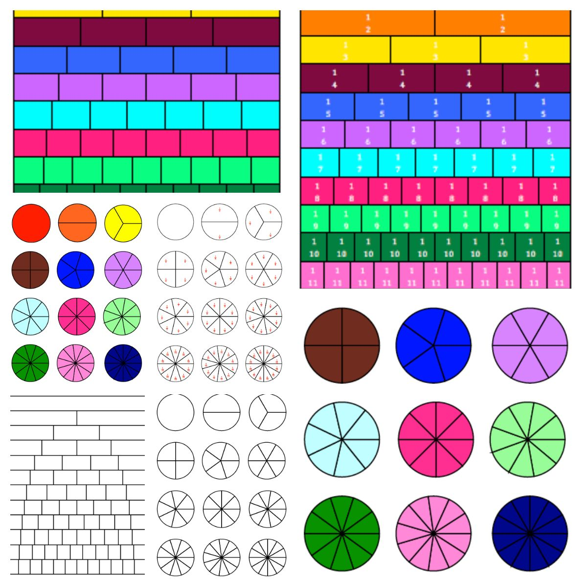 Fraction Circles And Fraction Strips Fractions Fraction Circles