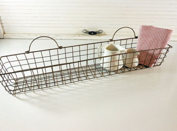 Wall Hanging Wire Baskets vintage metal wire basket narrow rectangle wall hanging | wire