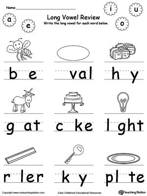 long vowel review write missing vowel part ii long vowels printable worksheets and worksheets. Black Bedroom Furniture Sets. Home Design Ideas