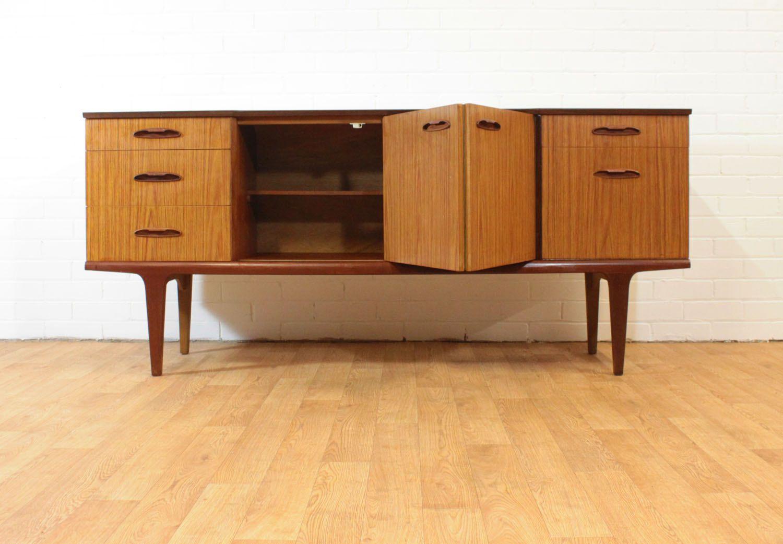 Sale Sleek Teak Laminate Mid Century Credenza Drinks 2 Etsy Mid Century Credenza Furniture Design Modern Teak