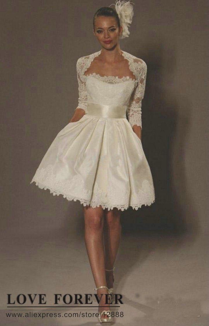 The best selling ivory taffeta short wedding dress with sleeve