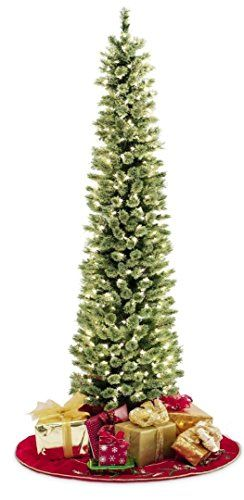 Pencil Slim Christmas Tree 7ft Soft Feel Touch With Stay Lit Lights