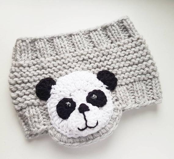 Panda bandeau, bandeau en tricot, cache-oreille, enveloppe de la tête, les filles bandeau, cache-oreilles, tenue, tenue de filles, accessoires dhiver, bandeau gris pour enfants