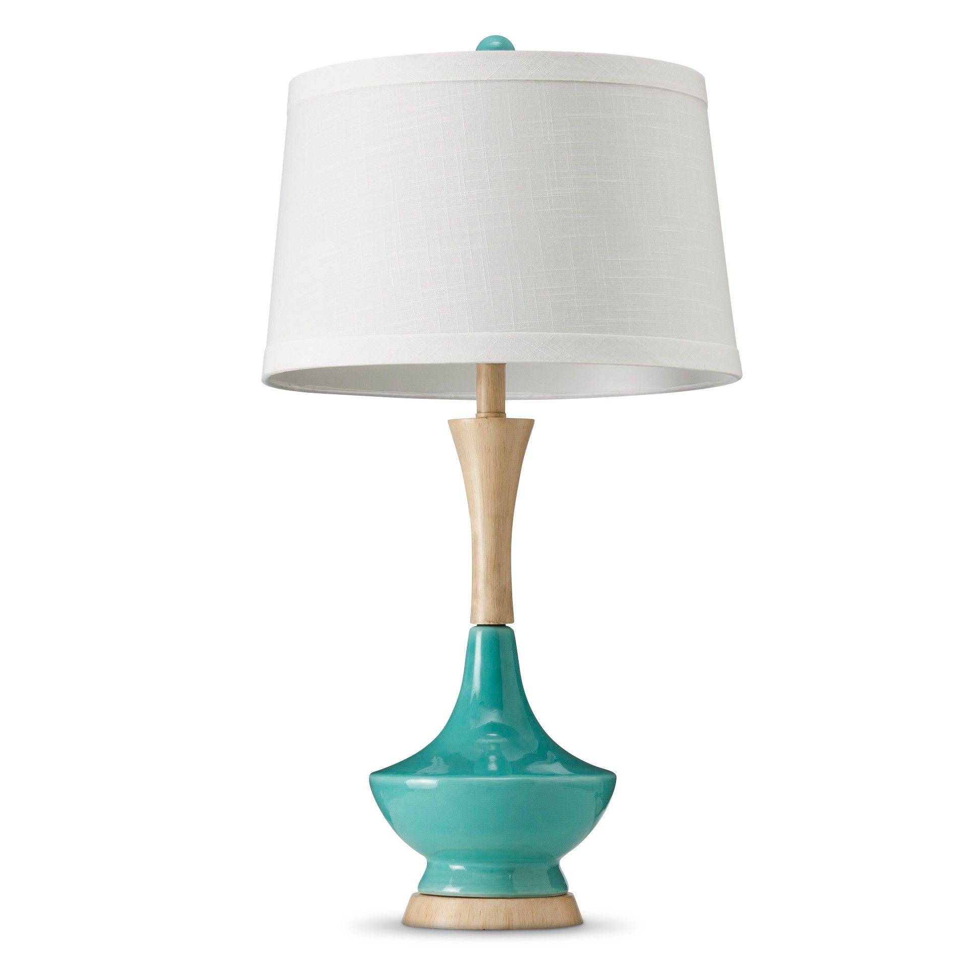 Ceramic Table Lamp With WoodStyle Base Teal Target