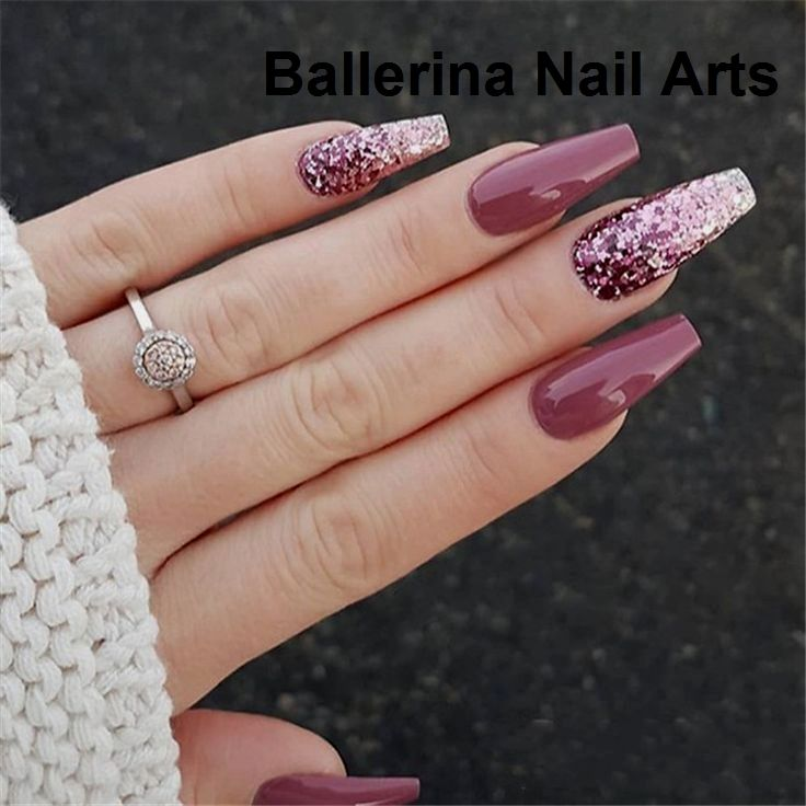 30 Elegant Purple Glitter Sarg Nagel Acrylic Nails Coffin Glitter Acrylic Nail Designs Fall Nail Art Designs