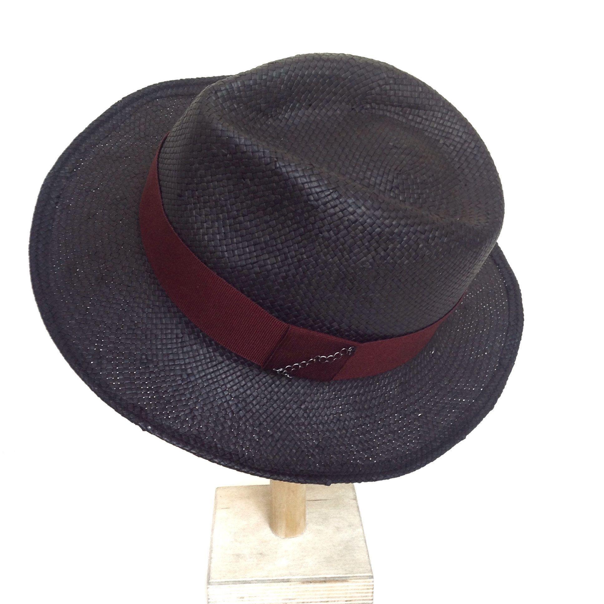 ... Un Sogno In Testa. S etsy  Mens fedora hat. Black straw trilby gift for  dad. Panama bdc97ef3e0f1