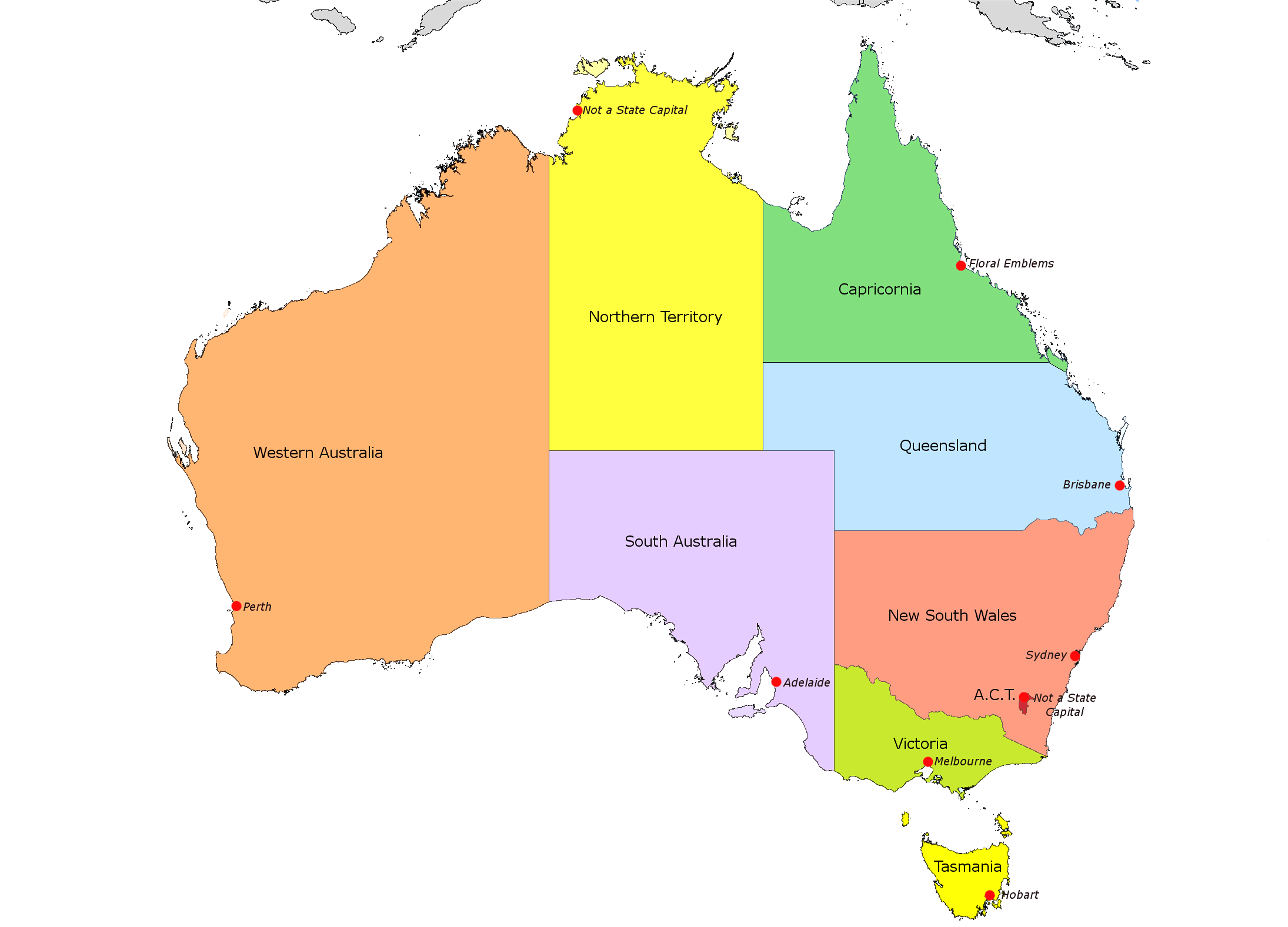 Map Of Australia And Capital Cities Basic Outline Maps