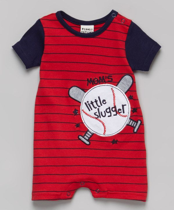 Look at this Peanut Buttons Red Stripe 'Little Slugger' Romper - Infant on #zulily today! No there is no news for anyone just dreaming haha
