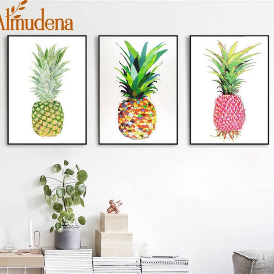 Nordic Canvas Art Prints Poster Cute Cartoon Yellow Red Gold Pineapple Wall Picture For Sofa Ba Modern Wall Art Canvas Canvas Wall Art Wall Art Canvas Painting