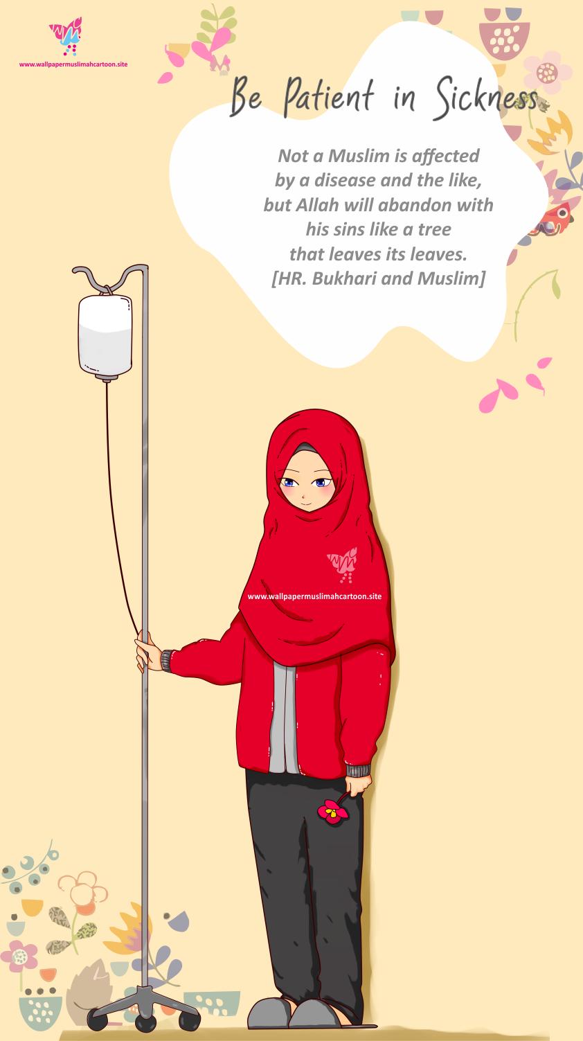 1 Wallpaper Muslim Cartoon Girl Sickness