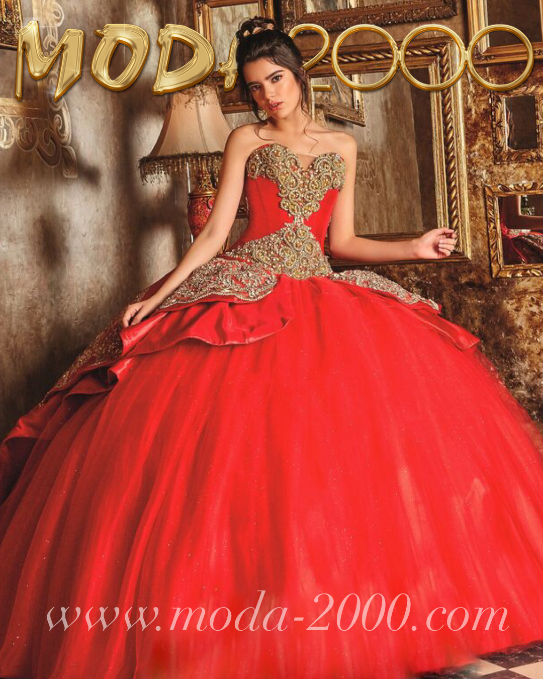 d825d272943 Sweetheart jeweled red gold charro quinceanera dress available at Moda 2000✨  Instagram   moda2000inc