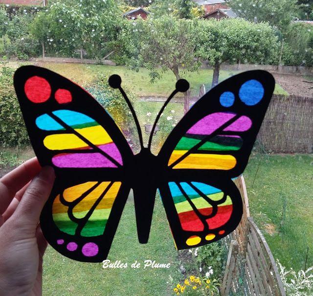 Bulles de plume diy papillon attrape soleil bricolages - Papillon maternelle ...