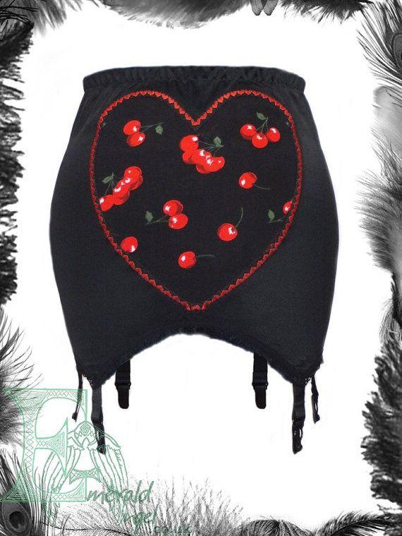 Cherries Heart Girdle Rockabilly by emeraldangel on Etsy, $72.00