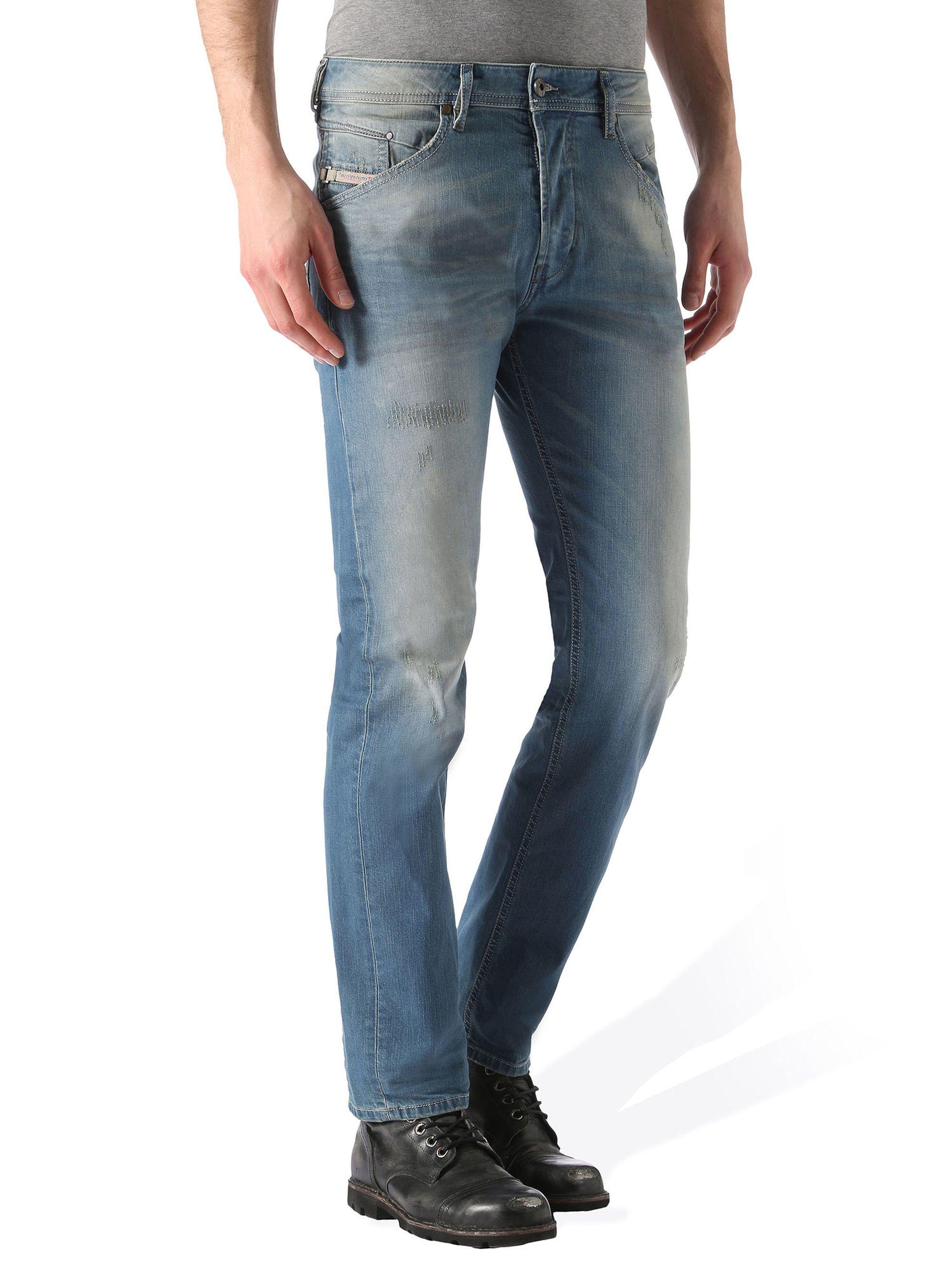 669853f3d33 Diesel BELTHER 0850U Tapered Regular Waist Stretch Jeans in Light Blue from  the Diesel Online Store  DieselOnlineStore  BELTHER0850U
