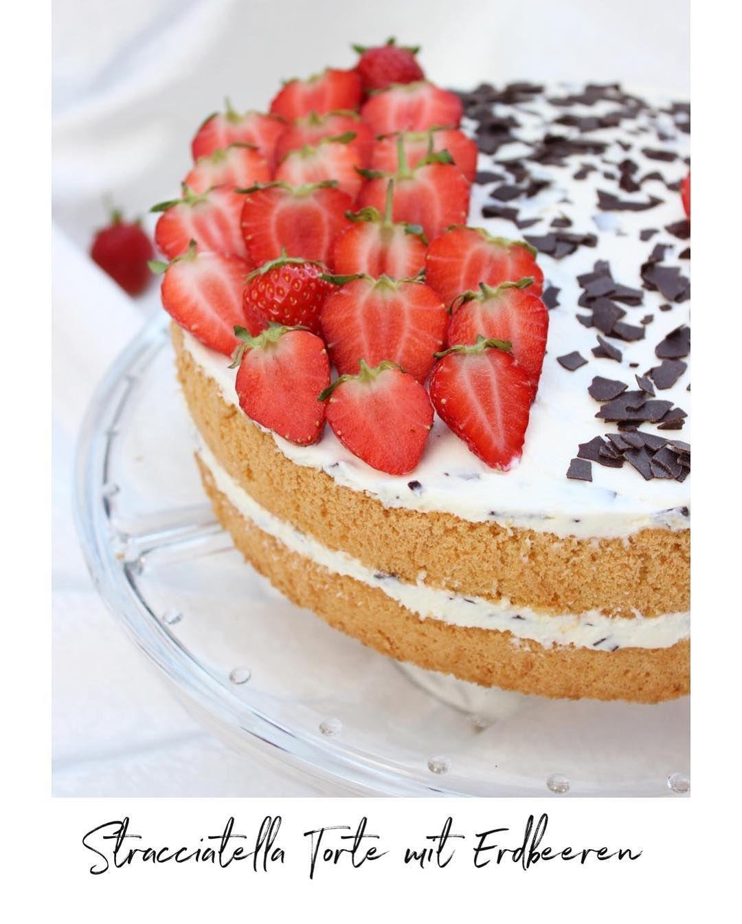 Stracciatella Torte mit Erdbeeren🍓 👇🏻Zutaten (26-28 cm