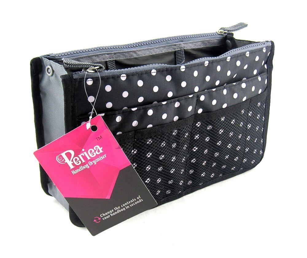 5 99 Gbp Periea Handbag Organiser Organizer Purse Insert Black White Polka Dots Chelsy Ebay Fashion