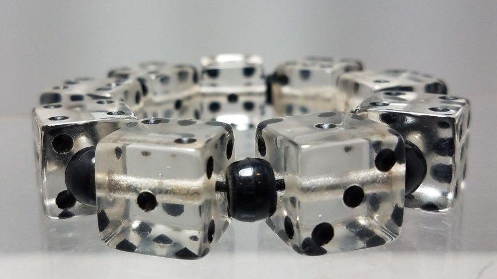 Vintage Art Deco 1930s Clear & Black Dice Stretch Lucite Bracelet excellent cond