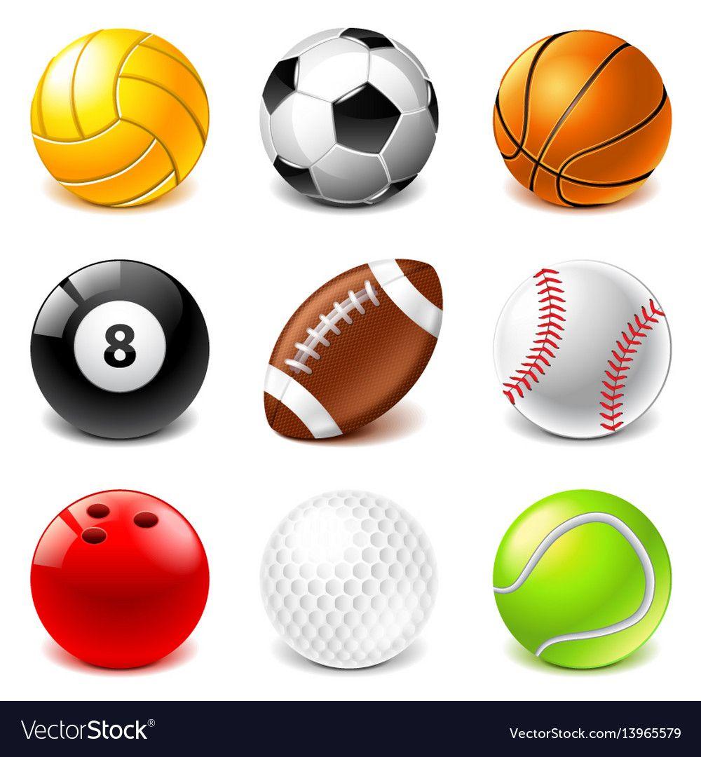 Sport Balls Icons Set Royalty Free Vector Image Sports Balls Sports Soccer