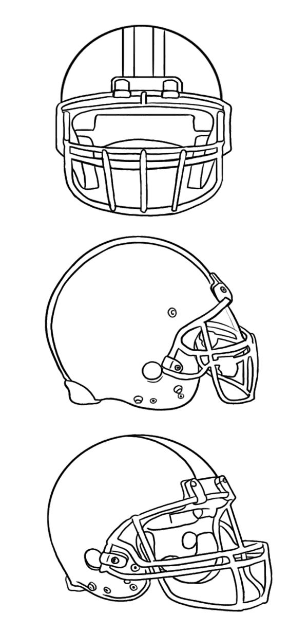 Three Football Helmet Coloring Page For Kids | SEW LABELized | Pinterest
