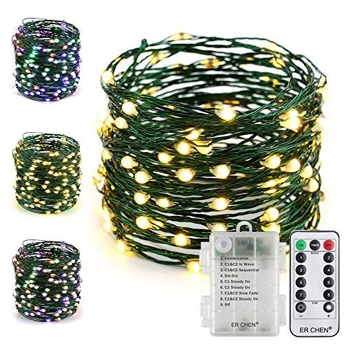 ER CHEN Fairy Lights with Remote, Battery Operated Green Copper Wire
