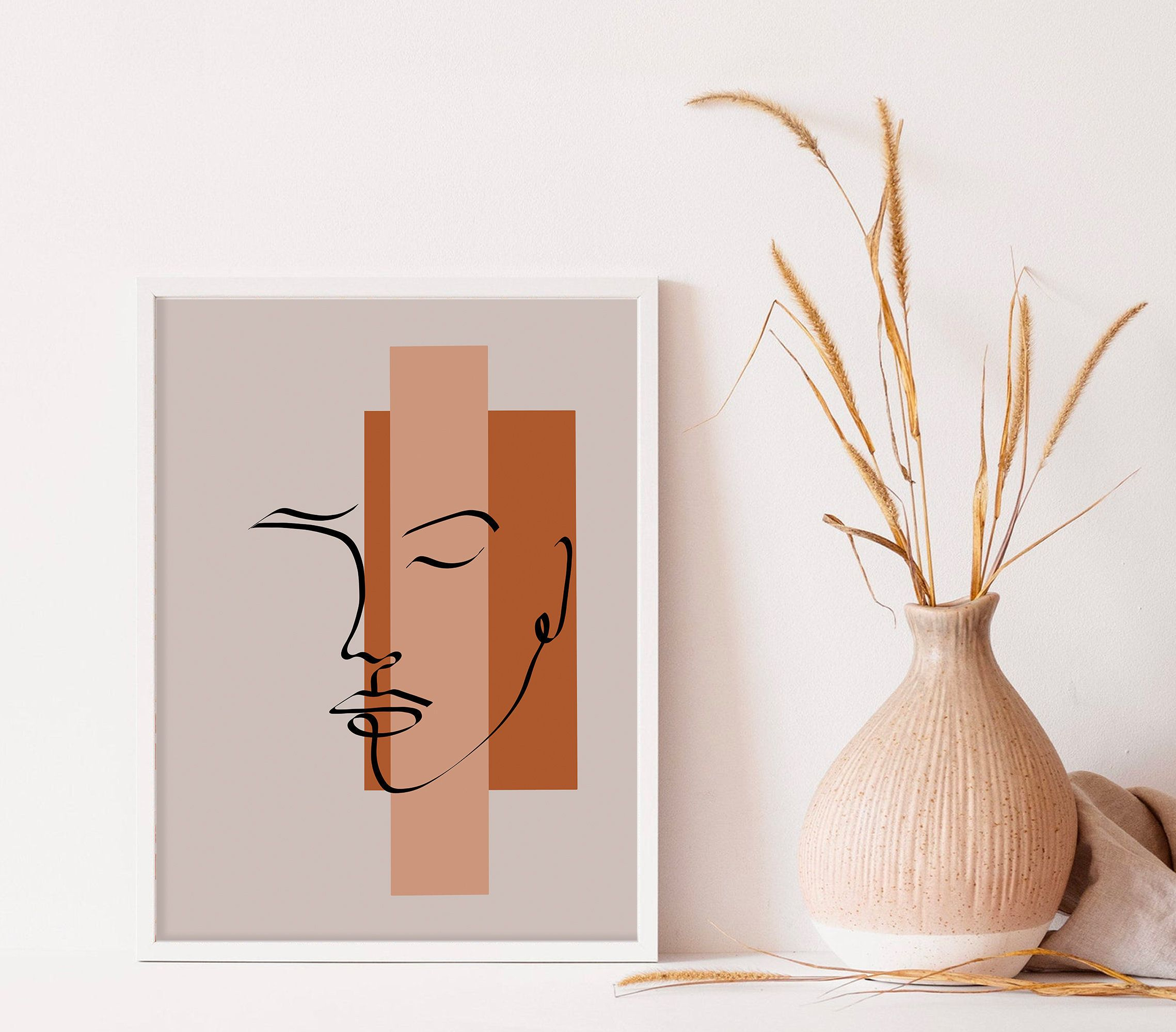 Abstract woman face line art print line drawing boho wall