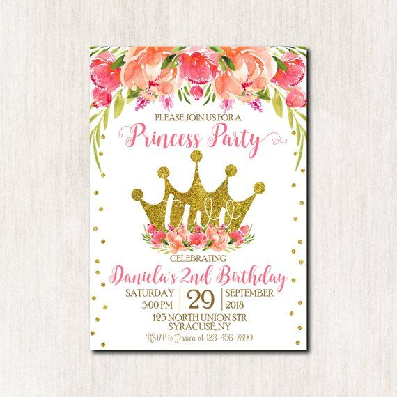 2nd Birthday Invitation Princess 1st 3rd 4th 5th For Girl Any Age