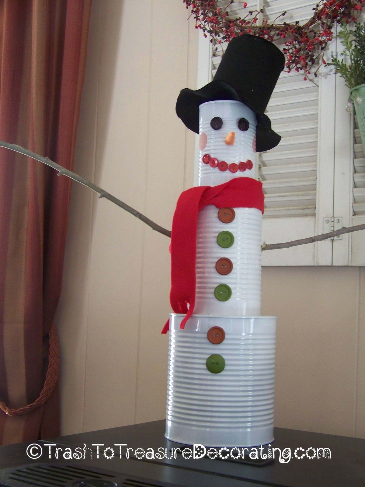 Trash to Treasure Decorating Upcycled Tin Can Snowman that Melts Your Heart & Trash to Treasure Decorating: Upcycled Tin Can Snowman that Melts ...