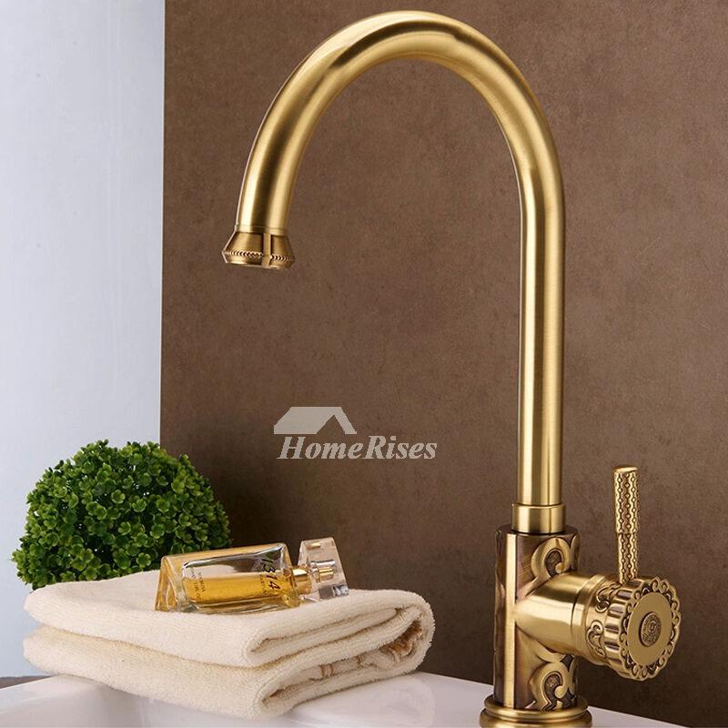 Ltj Gold Kitchen Faucet Luxury Polished Brass Gooseneck 15 Inch Gold Kitchen Faucet Kitchen Faucet Brass Kitchen Faucet
