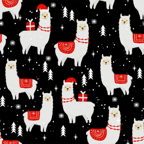 Colorful Fabrics Digitally Printed By Spoonflower Winter Llama Christmas Holiday Xmas Llamas Cute Alpaca Fabric Black In 2021 Cute Christmas Wallpaper Funny Christmas Wallpaper Cute Christmas Backgrounds