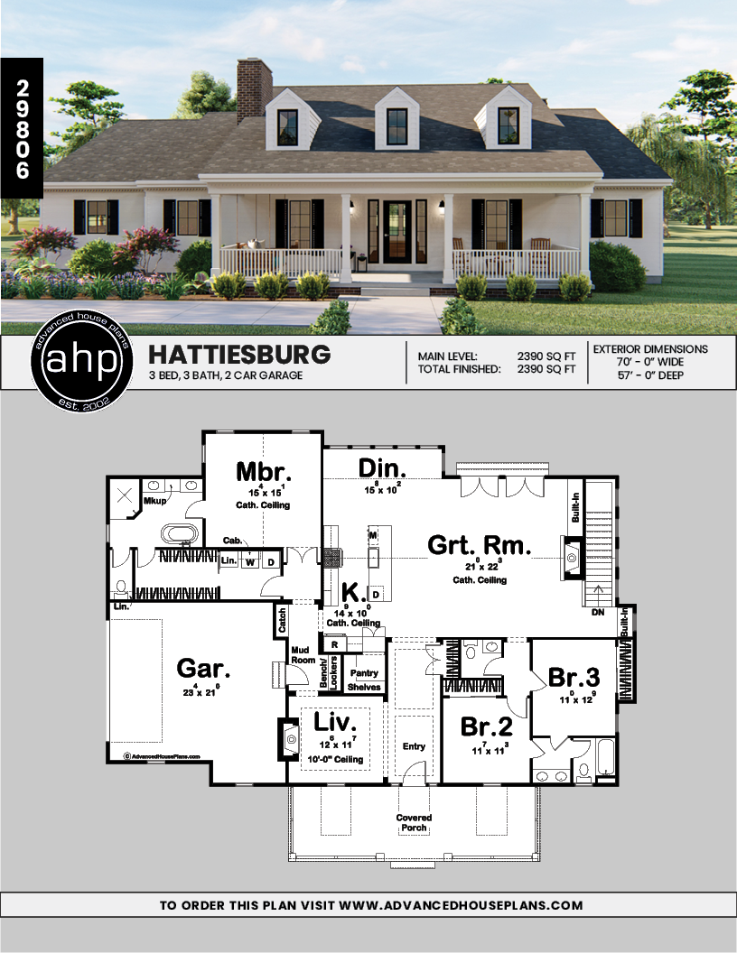 1 Story Southern Style House Plan Hattiesburg My House Plans Ranch Style House Plans Southern Style Homes
