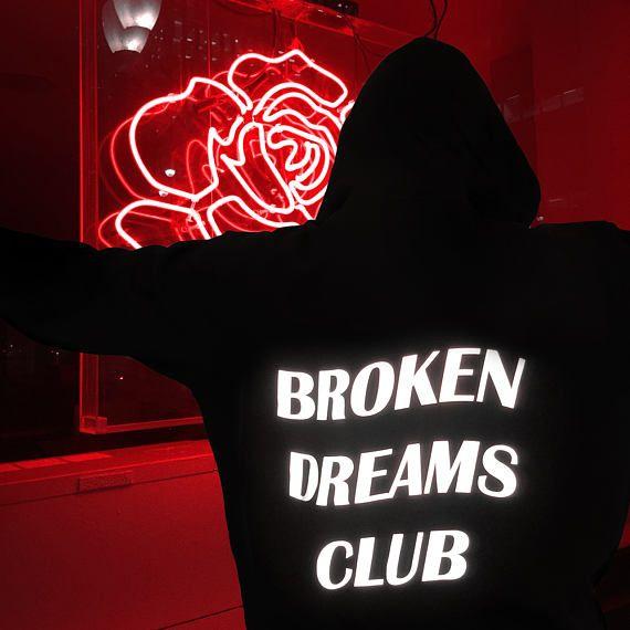 Broken Dreams Club Hoodie - Aesthetic Clothing, Aesthetic Hoodie, Tumblr Clothing, Tumblr Hoodie, Reflective Hoodie, Grunge, Anti Social