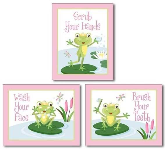 Pink Froggy Frog Set Of 3 Kid S Bathroom Prints With Images