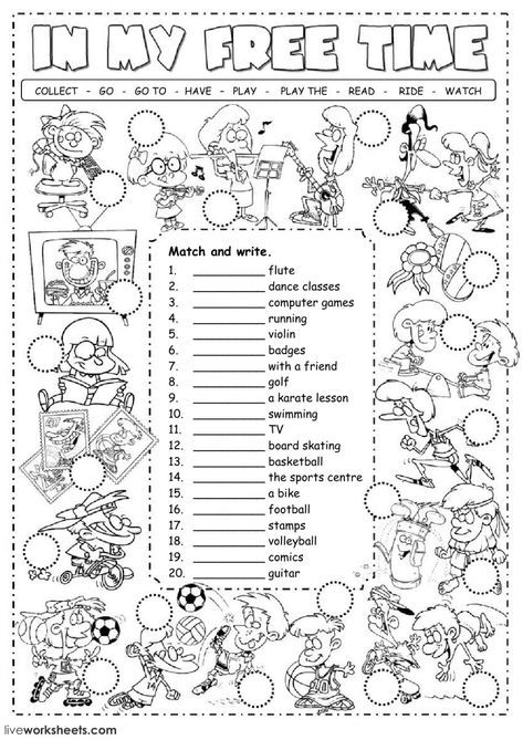 Free time activities interactive and downloadable