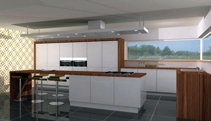 Moderne keuken met hout en wit gecombineerd bij toog en krukken kitchen pinterest toog - Modern keukenmodel ...