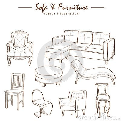 Furniture Collection Sketch Drawing Vector