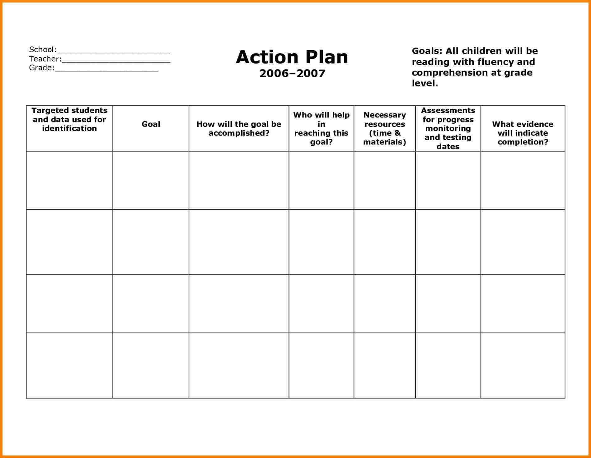 Strategic Planning Report Template Action plan template