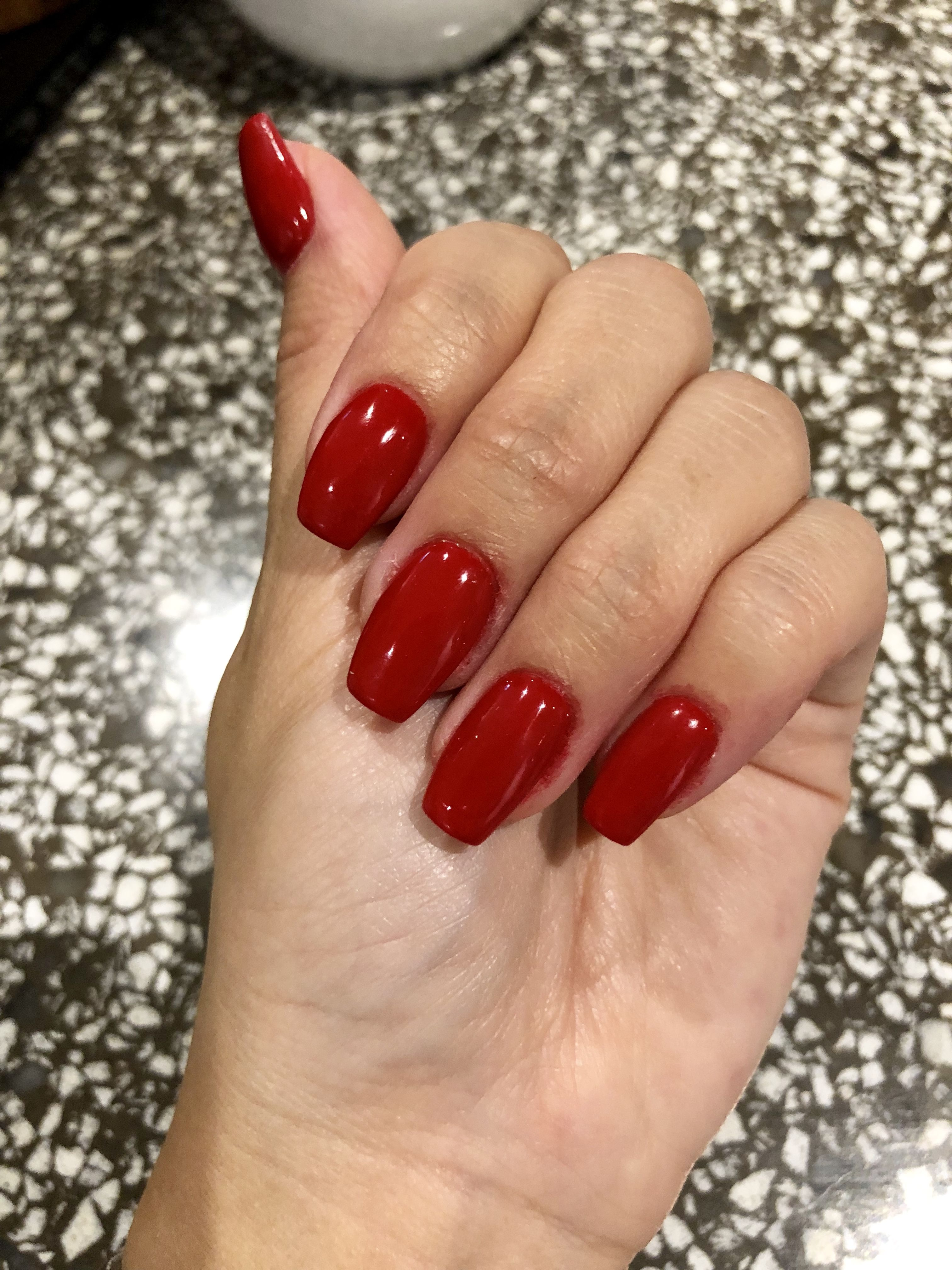 blood red sns nails - coffin shape
