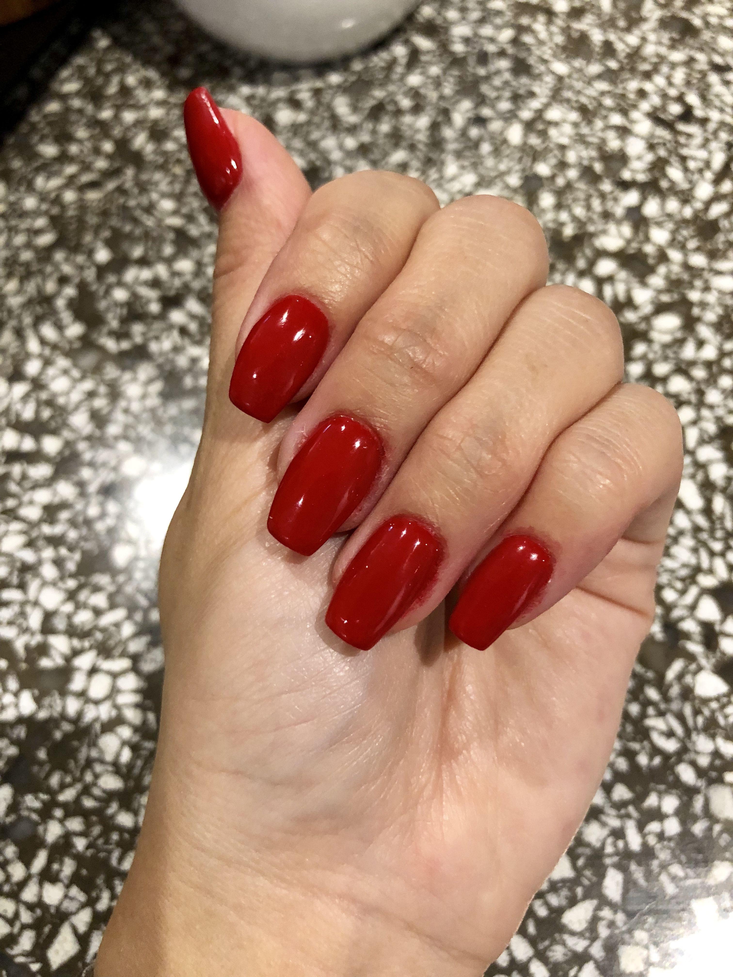 Blood Red SNS Nails - Coffin shape | Nail design | Pinterest | Sns ...