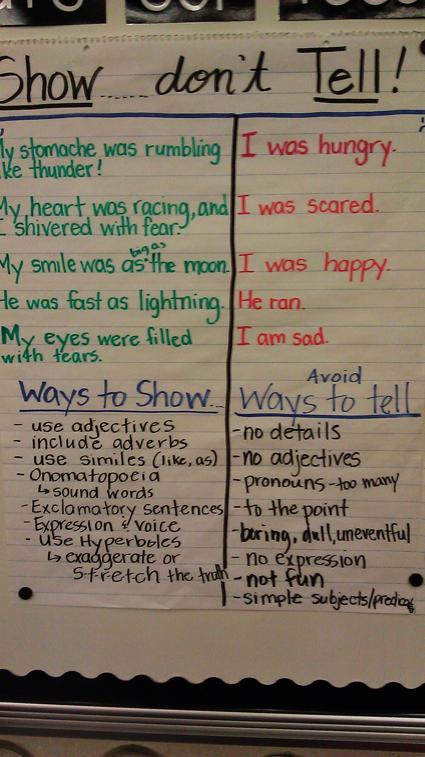 show don t tell anchor chart some spelling errors on this chart  some spelling errors on this chart to check first writing chart